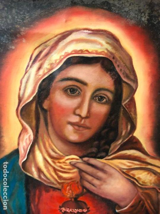 Arte: OLEO SOBRE LIENZO VIRGEN DEL SAGRADO CORAZON FIRMADO POR J. ROMERO - MEDIDA 48X40 CM - RELIGIOSO - Foto 3 - 134970198