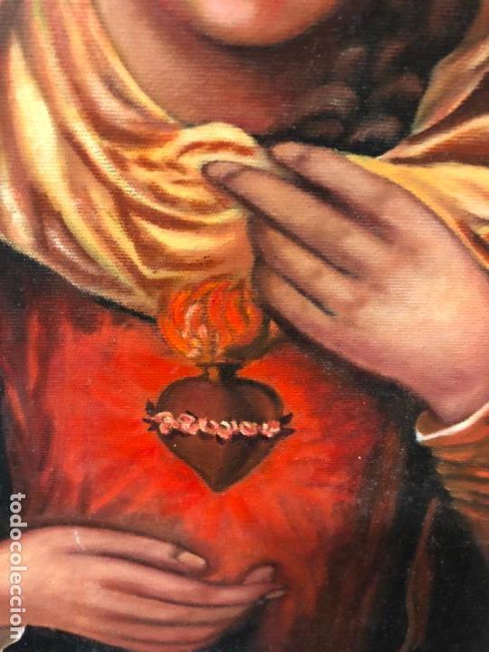 Arte: OLEO SOBRE LIENZO VIRGEN DEL SAGRADO CORAZON FIRMADO POR J. ROMERO - MEDIDA 48X40 CM - RELIGIOSO - Foto 4 - 134970198
