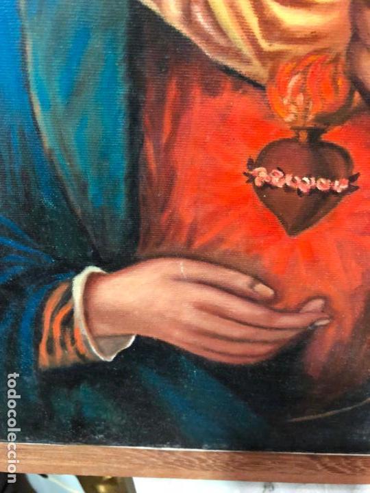 Arte: OLEO SOBRE LIENZO VIRGEN DEL SAGRADO CORAZON FIRMADO POR J. ROMERO - MEDIDA 48X40 CM - RELIGIOSO - Foto 6 - 134970198