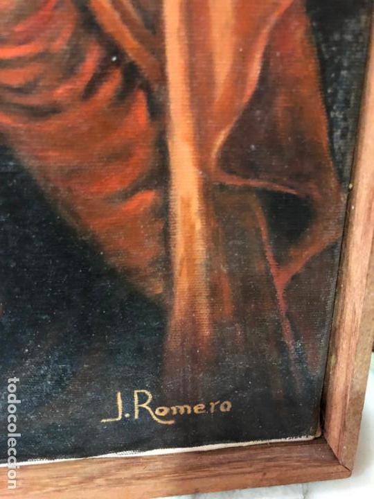 Arte: OLEO SOBRE LIENZO VIRGEN DEL SAGRADO CORAZON FIRMADO POR J. ROMERO - MEDIDA 48X40 CM - RELIGIOSO - Foto 8 - 134970198
