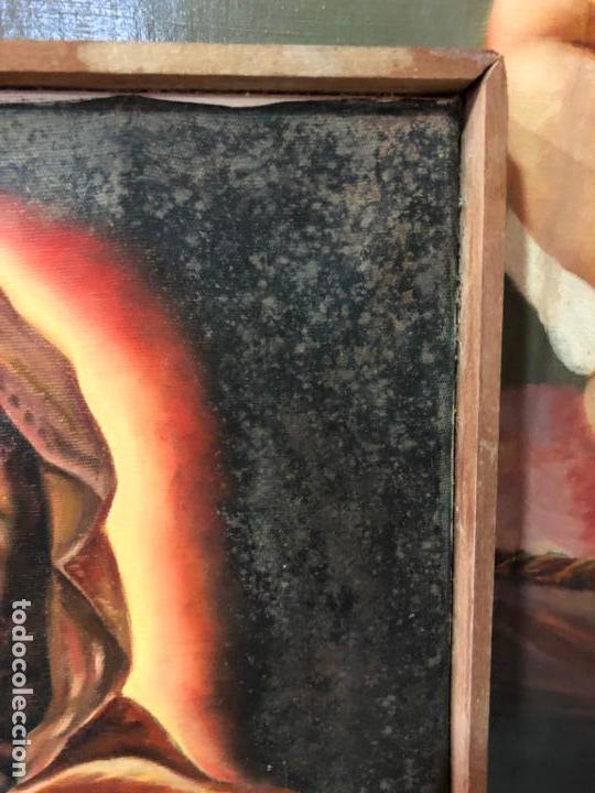 Arte: OLEO SOBRE LIENZO VIRGEN DEL SAGRADO CORAZON FIRMADO POR J. ROMERO - MEDIDA 48X40 CM - RELIGIOSO - Foto 9 - 134970198