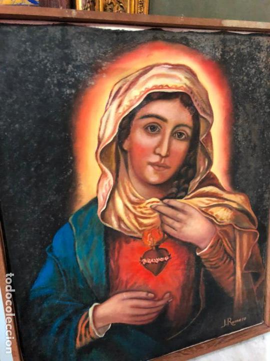 Arte: OLEO SOBRE LIENZO VIRGEN DEL SAGRADO CORAZON FIRMADO POR J. ROMERO - MEDIDA 48X40 CM - RELIGIOSO - Foto 10 - 134970198