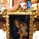 Arte: FANTASTICO OLEO SOBRE TABLA FIRMADO - VIRGEN CON NÑO JESUS Y MARCO DE MADERA Y DORADO. Lote 155627380