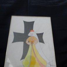 Arte: MARIA VILA LARA - PRESBÍTERO - DISEÑADO Y PINTADO CON LÁPIZ DE COLOR. Lote 135019758