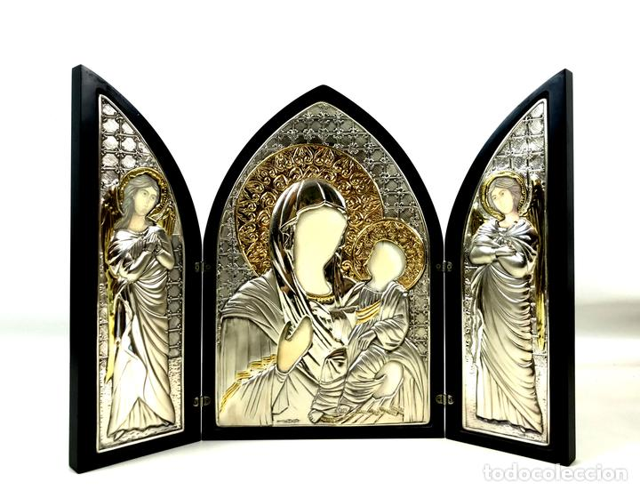 TRÍPTICO RELIGIOSO. MADERA Y PLATA DE LEY. ICONA. ITALIA. SIGLO XX. (Arte - Arte Religioso - Trípticos)
