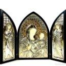 Arte: TRÍPTICO RELIGIOSO. MADERA Y PLATA DE LEY. ICONA. ITALIA. SIGLO XX. . Lote 135230546