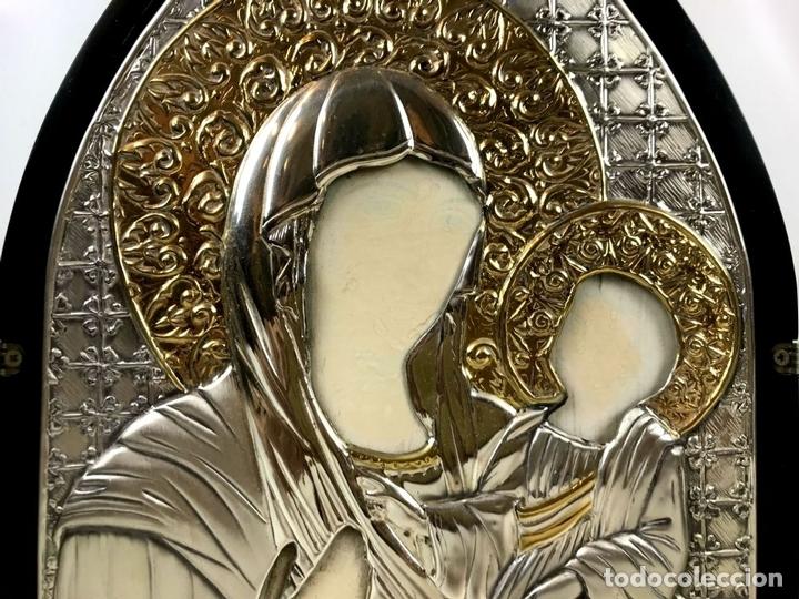 Arte: TRÍPTICO RELIGIOSO. MADERA Y PLATA DE LEY. ICONA. ITALIA. SIGLO XX. - Foto 2 - 135230546