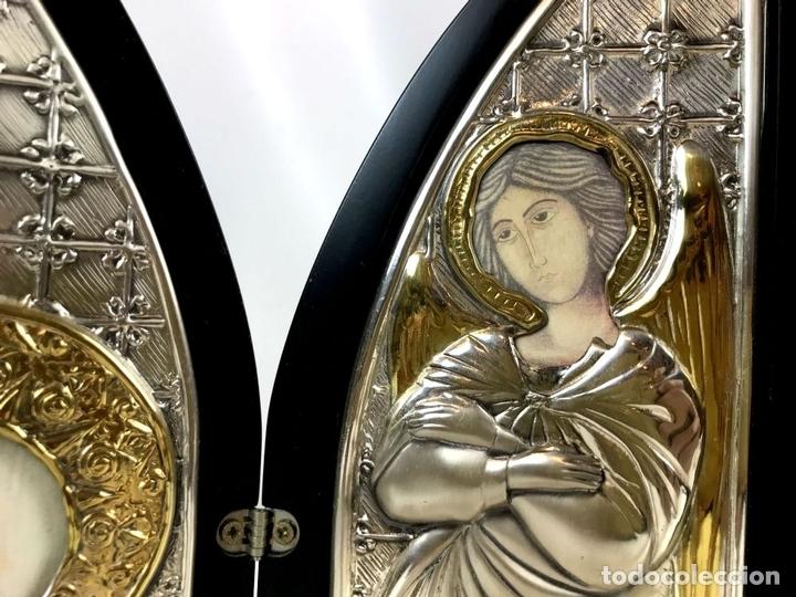 Arte: TRÍPTICO RELIGIOSO. MADERA Y PLATA DE LEY. ICONA. ITALIA. SIGLO XX. - Foto 3 - 135230546