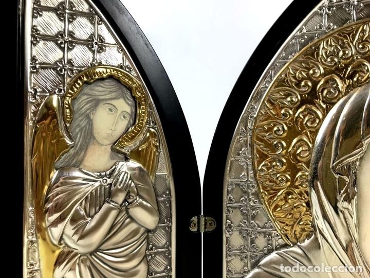 Arte: TRÍPTICO RELIGIOSO. MADERA Y PLATA DE LEY. ICONA. ITALIA. SIGLO XX. - Foto 4 - 135230546