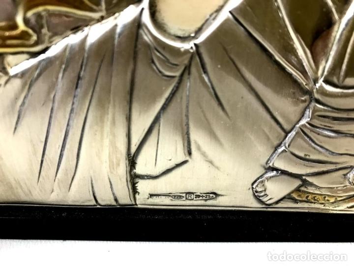 Arte: TRÍPTICO RELIGIOSO. MADERA Y PLATA DE LEY. ICONA. ITALIA. SIGLO XX. - Foto 5 - 135230546