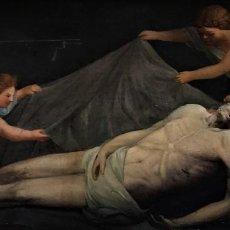 Arte: CRISTO YACENTE SOSTENIDO POR ANGELES. Lote 135619506