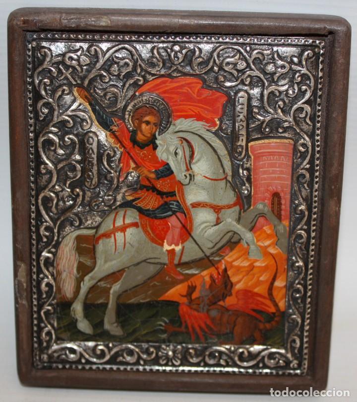 ICONO EN PLATA- SAN JORGE Y EL DRAGÓN-PINTADO A MANO. (Arte - Arte Religioso - Iconos)