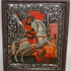 Arte: ICONO EN PLATA- SAN JORGE Y EL DRAGÓN-PINTADO A MANO.. Lote 135662471