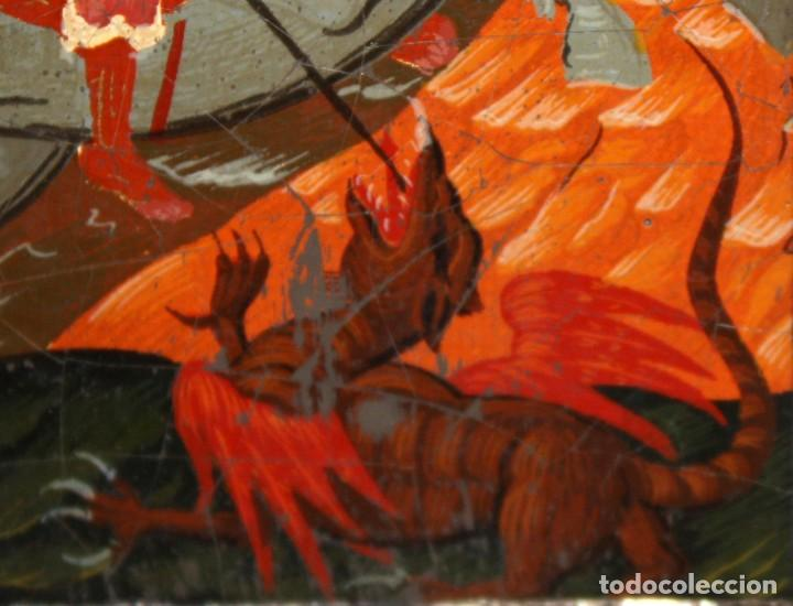 Arte: ICONO EN PLATA- SAN JORGE Y EL DRAGÓN-PINTADO A MANO. - Foto 4 - 135662471