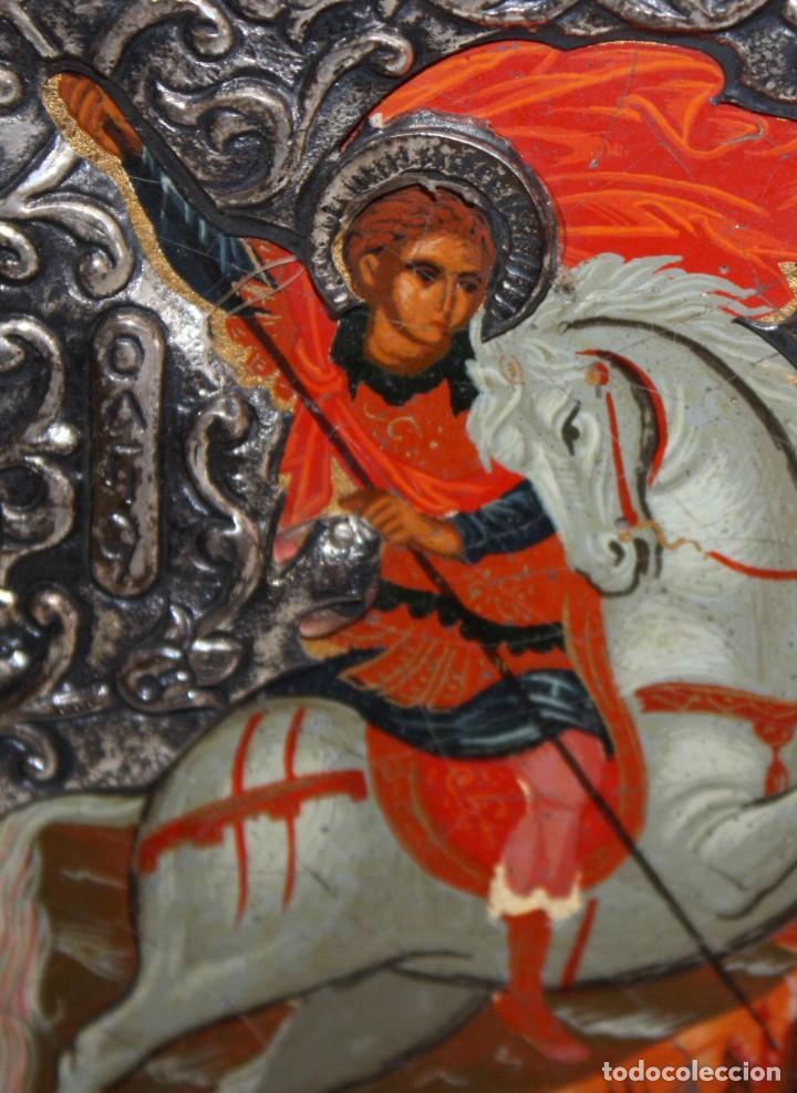 Arte: ICONO EN PLATA- SAN JORGE Y EL DRAGÓN-PINTADO A MANO. - Foto 5 - 135662471