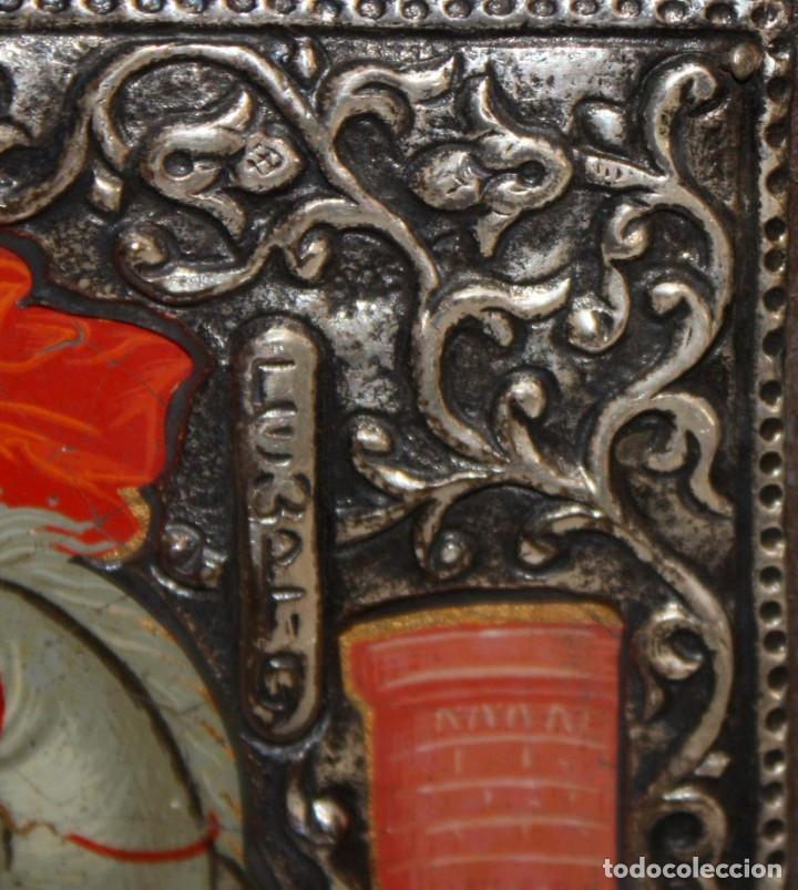 Arte: ICONO EN PLATA- SAN JORGE Y EL DRAGÓN-PINTADO A MANO. - Foto 6 - 135662471