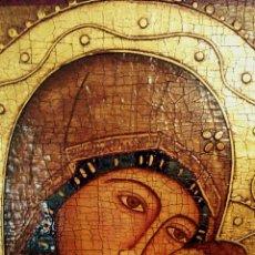 Arte: RETABLO. ICONO BIZANTINO. PINTURA RELIGIOSA. VIRGEN CON NIÑO. PINTADO A MANO CON PINTURA AL TEMPLE.. Lote 135667710