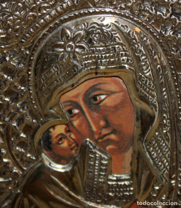 Arte: ICONO EN PLATA DORADA-VIRGEN Y NIÑO. - Foto 2 - 135669135