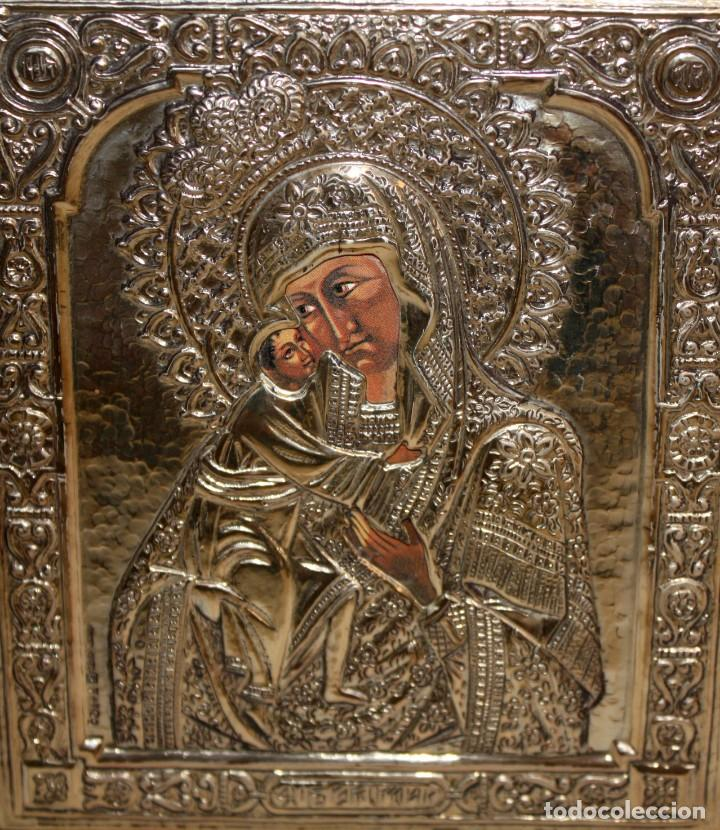Arte: ICONO EN PLATA DORADA-VIRGEN Y NIÑO. - Foto 3 - 135669135