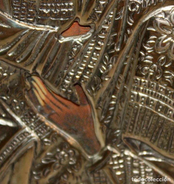 Arte: ICONO EN PLATA DORADA-VIRGEN Y NIÑO. - Foto 4 - 135669135