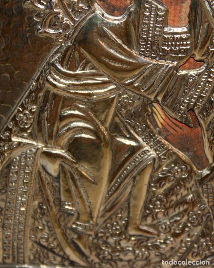 Arte: ICONO EN PLATA DORADA-VIRGEN Y NIÑO. - Foto 5 - 135669135