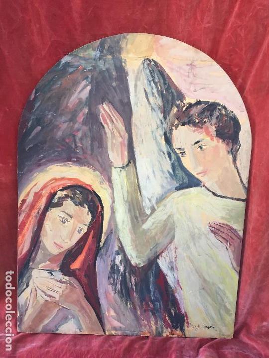 TEMPERA GOUACHE PAPEL SOBRE TABLA ANUNCIACION TRINIDAD SOTOS BAYARRI CATALUÑA CANTABRIA 88X65CMS (Arte - Arte Religioso - Pintura Religiosa - Otros)