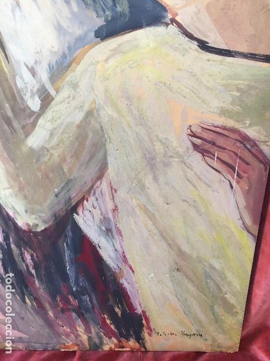 Arte: TEMPERA GOUACHE PAPEL SOBRE TABLA ANUNCIACION TRINIDAD SOTOS BAYARRI CATALUÑA CANTABRIA 88X65CMS - Foto 8 - 135694211