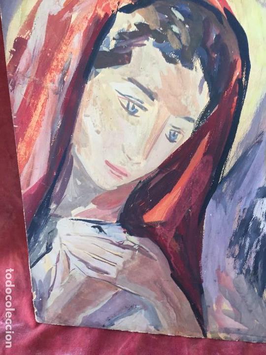 Arte: TEMPERA GOUACHE PAPEL SOBRE TABLA ANUNCIACION TRINIDAD SOTOS BAYARRI CATALUÑA CANTABRIA 88X65CMS - Foto 10 - 135694211