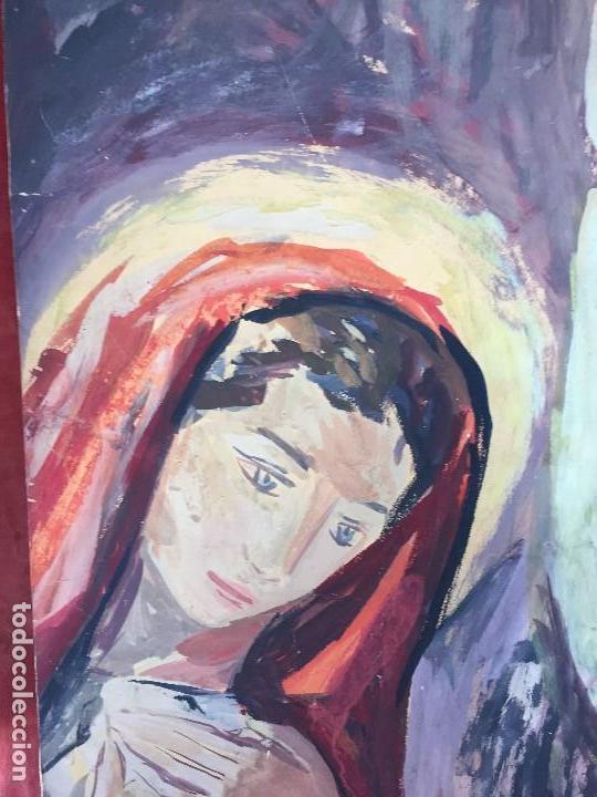 Arte: TEMPERA GOUACHE PAPEL SOBRE TABLA ANUNCIACION TRINIDAD SOTOS BAYARRI CATALUÑA CANTABRIA 88X65CMS - Foto 11 - 135694211