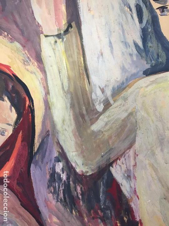 Arte: TEMPERA GOUACHE PAPEL SOBRE TABLA ANUNCIACION TRINIDAD SOTOS BAYARRI CATALUÑA CANTABRIA 88X65CMS - Foto 12 - 135694211