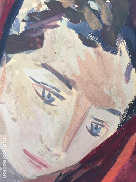 Arte: TEMPERA GOUACHE PAPEL SOBRE TABLA ANUNCIACION TRINIDAD SOTOS BAYARRI CATALUÑA CANTABRIA 88X65CMS - Foto 13 - 135694211