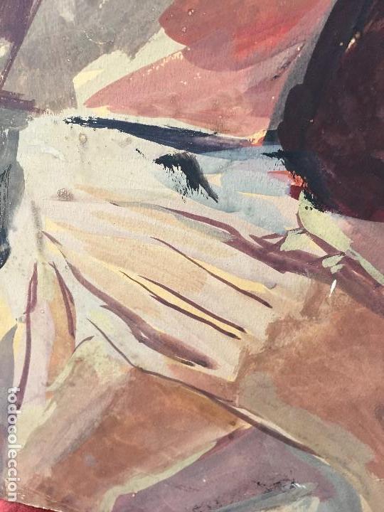 Arte: TEMPERA GOUACHE PAPEL SOBRE TABLA ANUNCIACION TRINIDAD SOTOS BAYARRI CATALUÑA CANTABRIA 88X65CMS - Foto 15 - 135694211