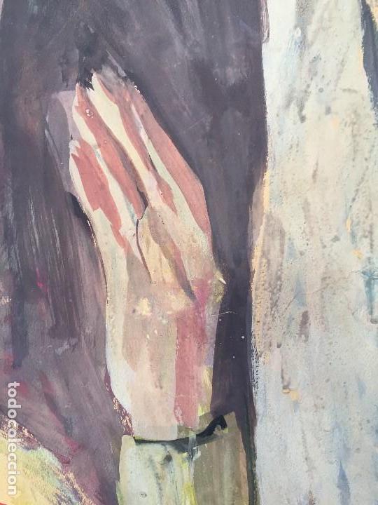 Arte: TEMPERA GOUACHE PAPEL SOBRE TABLA ANUNCIACION TRINIDAD SOTOS BAYARRI CATALUÑA CANTABRIA 88X65CMS - Foto 16 - 135694211