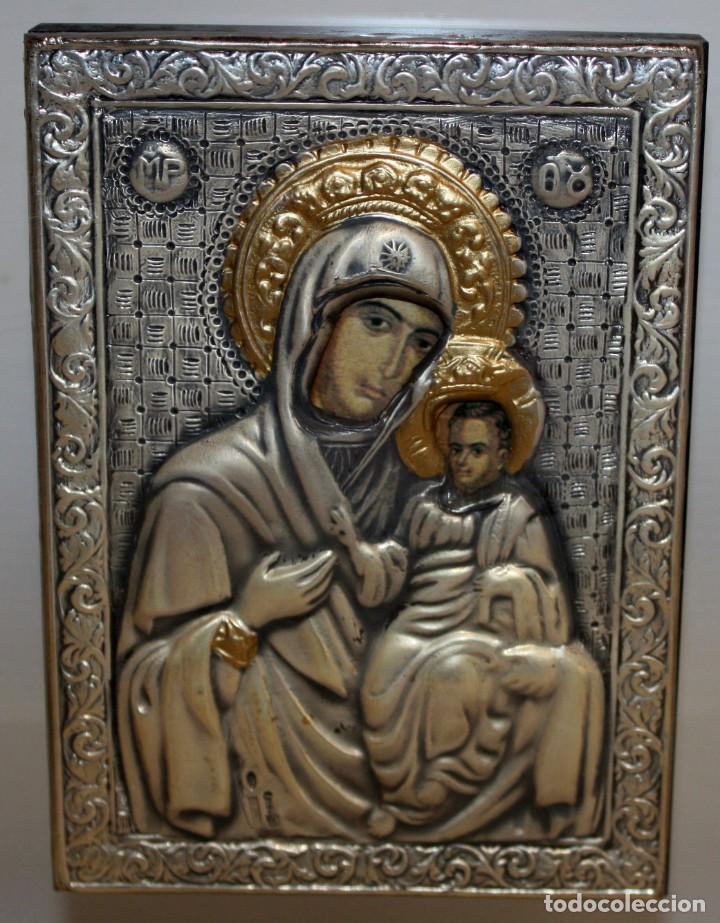 BONITO ICONO EN PLATA Y PLATA DORADA-VIRGEN Y NIÑO- ENMARCADO. (Arte - Arte Religioso - Iconos)