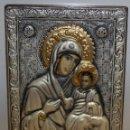 Arte: BONITO ICONO EN PLATA Y PLATA DORADA-VIRGEN Y NIÑO- ENMARCADO.. Lote 135699803