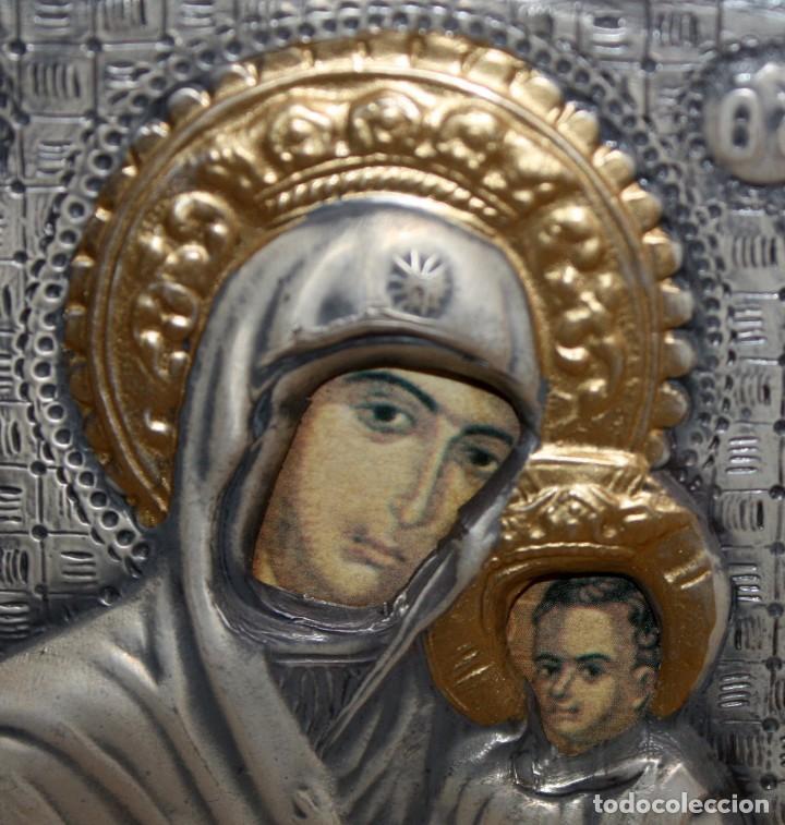 Arte: BONITO ICONO EN PLATA Y PLATA DORADA-VIRGEN Y NIÑO- ENMARCADO. - Foto 3 - 135699803