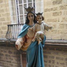 Arte: ANTIGUA VIRGEN MARIA AUXILIADORA Y NIÑO JESUS SELLO OLOT . OJOS DE CRISTAL 34,5 CM . Lote 135870778