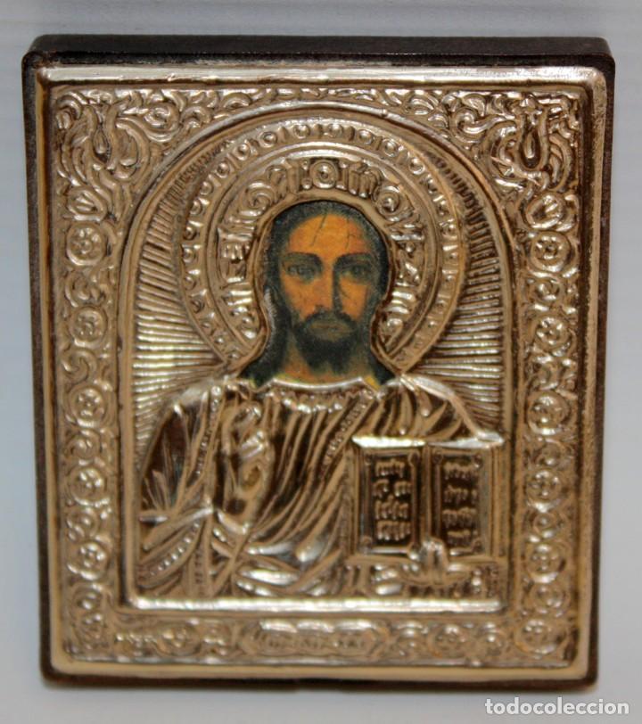 ICONO EN PLATA-JESUCRISTO-CON PUNZONES. (Arte - Arte Religioso - Iconos)