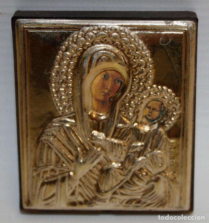 ICONO EN PLATA DORADA-VIRGEN Y NIÑO- (Arte - Arte Religioso - Iconos)