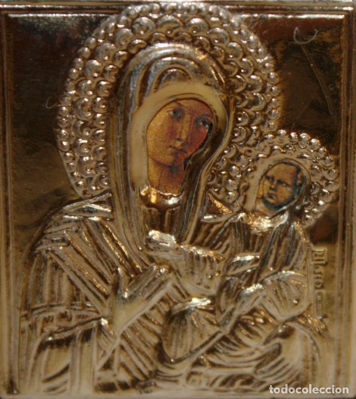 Arte: ICONO EN PLATA DORADA-VIRGEN Y NIÑO- - Foto 3 - 135895538