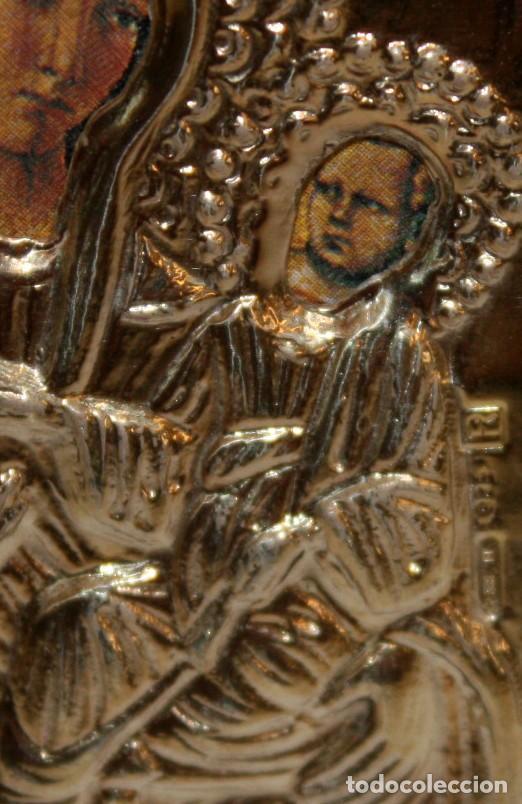 Arte: ICONO EN PLATA DORADA-VIRGEN Y NIÑO- - Foto 4 - 135895538