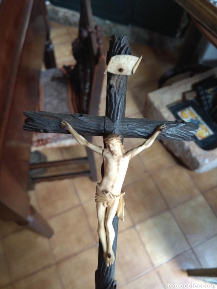 Arte: Antigua Cruz con Cristo de Hueso XIX - Foto 5 - 135936307