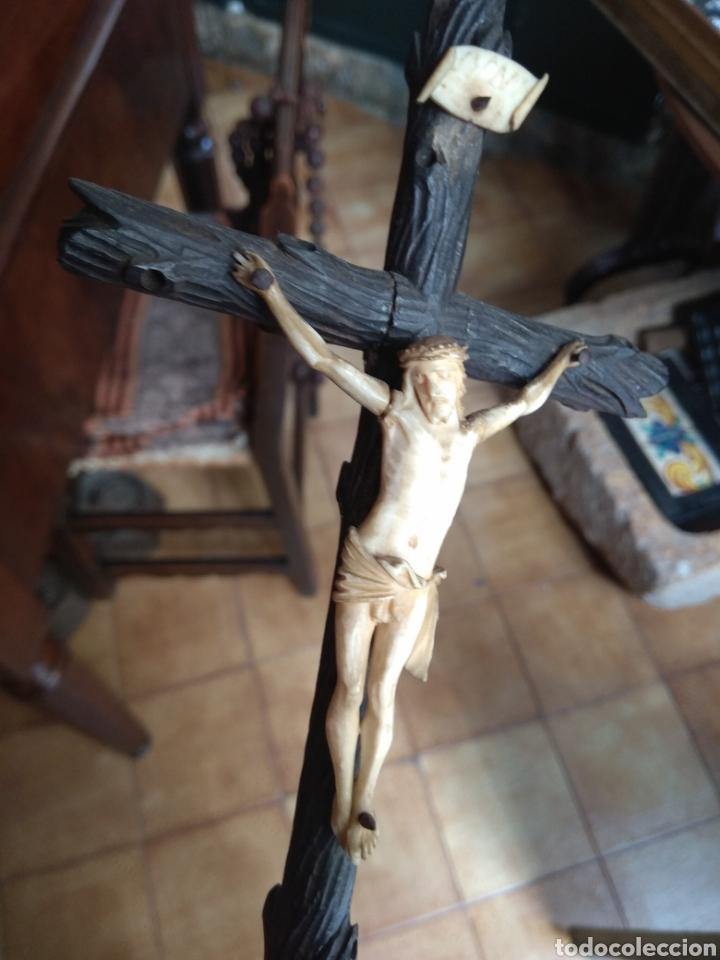 Arte: Antigua Cruz con Cristo de Hueso XIX - Foto 6 - 135936307