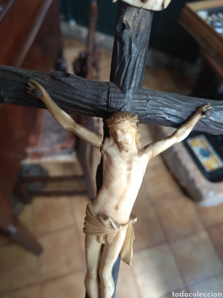 Arte: Antigua Cruz con Cristo de Hueso XIX - Foto 7 - 135936307