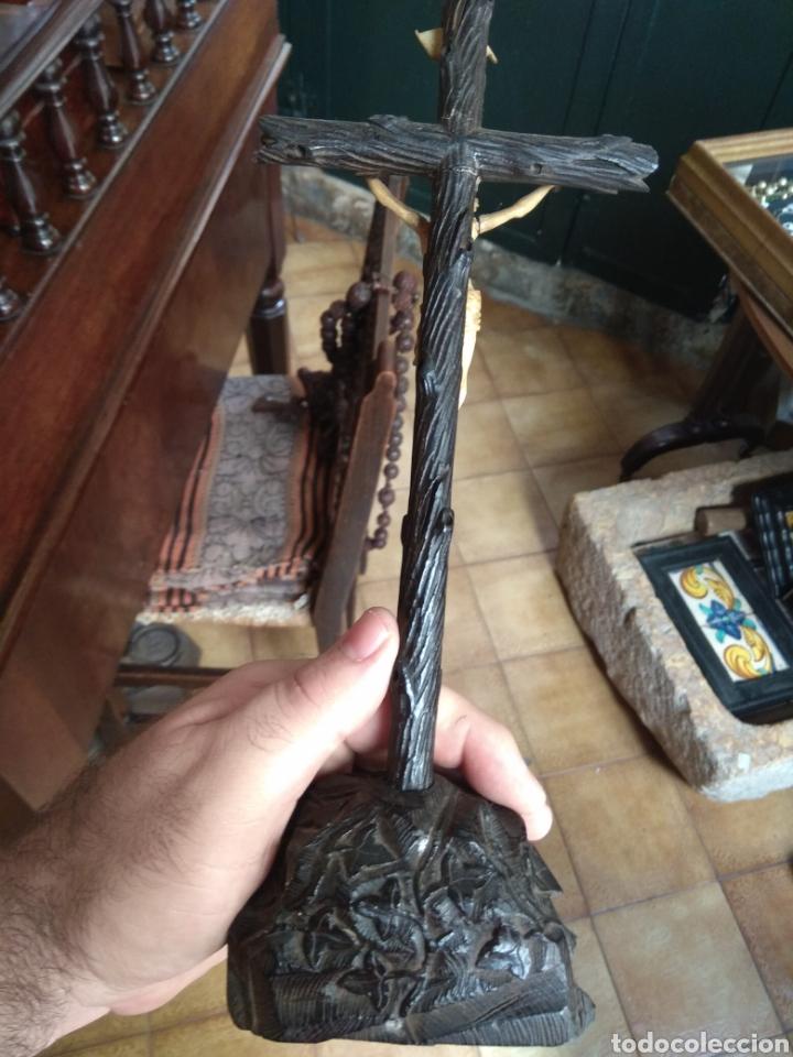 Arte: Antigua Cruz con Cristo de Hueso XIX - Foto 10 - 135936307