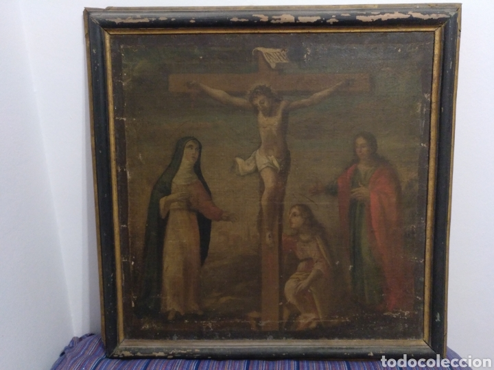 MUY ANTIGUO CUADRO CRISTO CRUCIFICADO ESCENA CRUCIFIXIÓN MEDIDAS: 78 POR 77 CTMS.ESCUELA MALLORQUINA (Arte - Arte Religioso - Pintura Religiosa - Oleo)