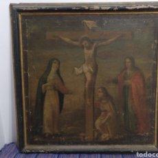 Arte: MUY ANTIGUO CUADRO CRISTO CRUCIFICADO ESCENA CRUCIFIXIÓN MEDIDAS: 78 POR 77 CTMS.ESCUELA MALLORQUINA. Lote 136125237