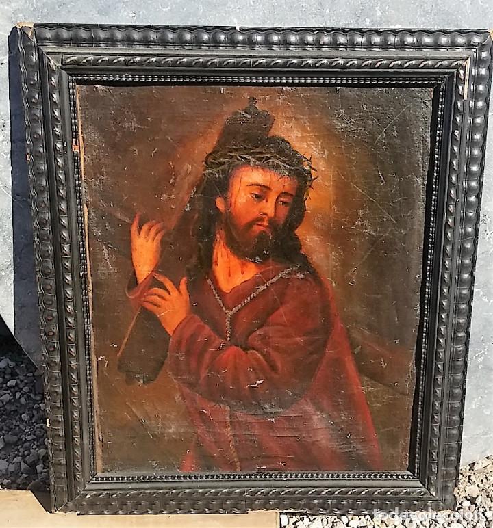 CRISTO CON LA CRUZ OLEO MUY ANTIGUO (Arte - Arte Religioso - Pintura Religiosa - Oleo)
