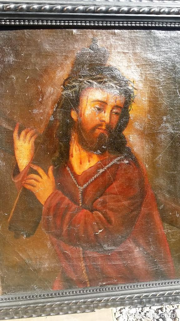 Arte: CRISTO CON LA CRUZ OLEO MUY ANTIGUO - Foto 4 - 136138770