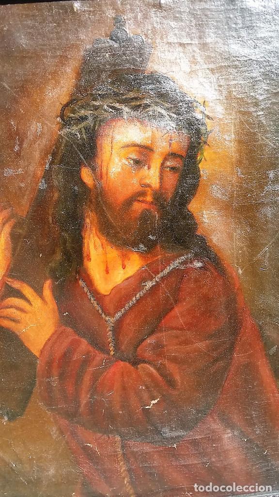 Arte: CRISTO CON LA CRUZ OLEO MUY ANTIGUO - Foto 5 - 136138770